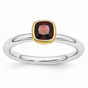 Two Tone Sterling Silver Stackable 5mm Cushion Garnet Ring - The Black Bow Jewelry Co.