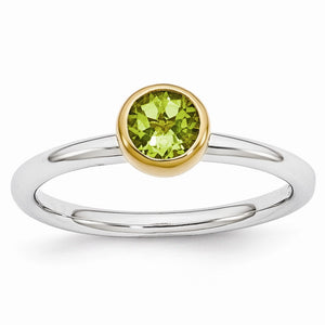 Two Tone Sterling Silver Stackable 5mm Round Peridot Ring - The Black Bow Jewelry Co.