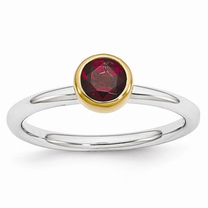 Two Tone Sterling Silver Stackable 5mm Round Rhodolite Garnet Ring - The Black Bow Jewelry Co.