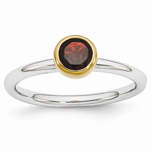 Two Tone Sterling Silver Stackable 5mm Round Garnet Ring - The Black Bow Jewelry Co.
