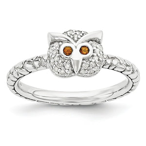 Sterling Silver, Garnet & .135 Ctw I3 H-I Diamond 7mm Owl Stack Ring - The Black Bow Jewelry Co.