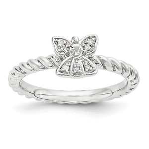 Sterling Silver Stackable .035ctw I3 H-I Diamond 6mm Angel Ring - The Black Bow Jewelry Co.
