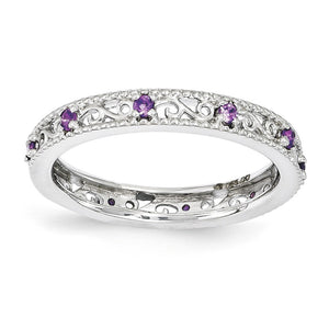 3mm Sterling Silver Stackable Expressions Amethyst Scroll Band - The Black Bow Jewelry Co.