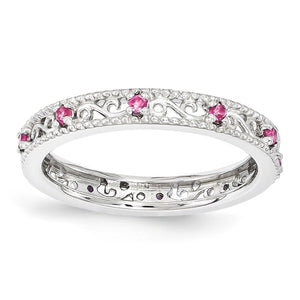 3mm Sterling Silver Stackable Created Pink Sapphire Scroll Band - The Black Bow Jewelry Co.