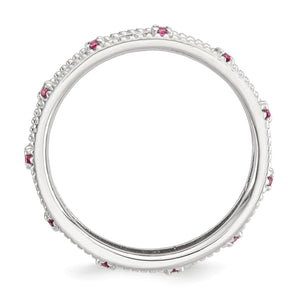 Alternate view of the 3mm Sterling Silver Stackable Created Pink Sapphire Scroll Band by The Black Bow Jewelry Co.