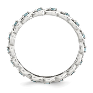 Alternate view of the 2.5mm Rhodium Plated Sterling Silver Stackable Aquamarine Twist Band by The Black Bow Jewelry Co.