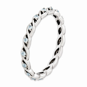2.5mm Rhodium Plated Sterling Silver Stackable Aquamarine Twist Band
