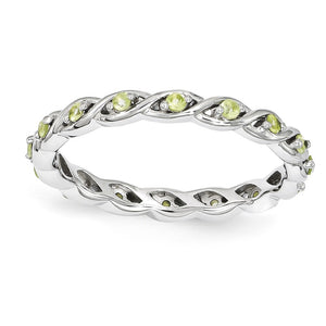 2.5mm Rhodium Plated Sterling Silver Stackable Peridot Twist Band - The Black Bow Jewelry Co.