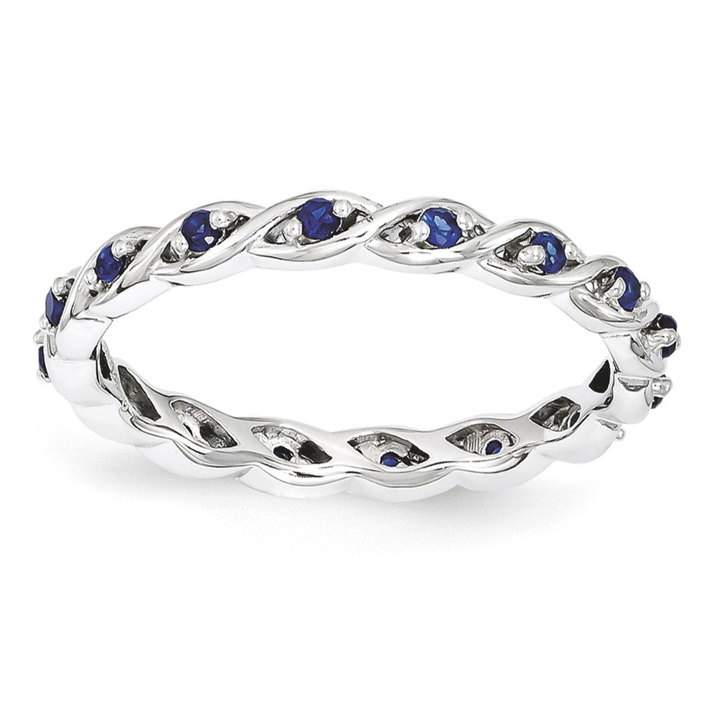 2.5mm Rhodium Sterling Silver Stackable Created Sapphire Twist Band - The Black Bow Jewelry Co.