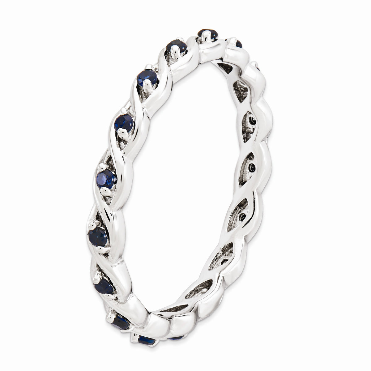 Alternate view of the 2.5mm Rhodium Sterling Silver Stackable Created Sapphire Twist Band by The Black Bow Jewelry Co.