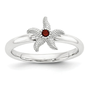 Sterling Silver Stackable Expressions Garnet 10mm Starfish Ring - The Black Bow Jewelry Co.