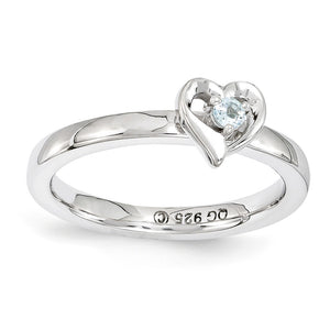 Sterling Silver Stackable Expressions Aquamarine 6mm Heart Ring - The Black Bow Jewelry Co.