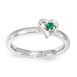 Sterling Silver Stackable Expressions Created Emerald 6mm Heart Ring - The Black Bow Jewelry Co.