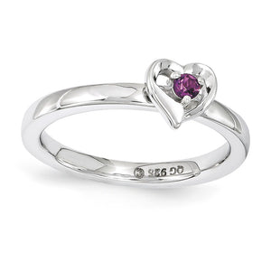 Sterling Silver Stackable Expressions Rhodolite Garnet 6mm Heart Ring - The Black Bow Jewelry Co.