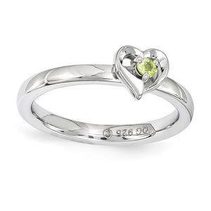 Sterling Silver Stackable Expressions Peridot 6mm Heart Ring - The Black Bow Jewelry Co.