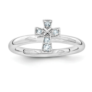Rhodium Plated Sterling Silver Stackable Aquamarine 9mm Cross Ring - The Black Bow Jewelry Co.
