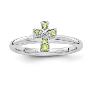 Rhodium Plated Sterling Silver Stackable Peridot 9mm Cross Ring - The Black Bow Jewelry Co.