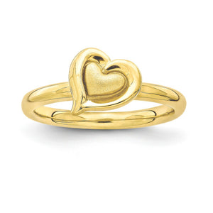 Yellow Gold Tone Plated Sterling Silver Stackable 9mm Heart Ring - The Black Bow Jewelry Co.