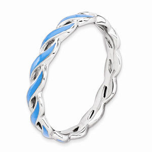 2mm Sterling Silver Stackable Expressions Blue Enamel Swirl Band