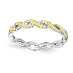 2mm Sterling Silver Stackable Expressions Yellow Enamel Swirl Band - The Black Bow Jewelry Co.