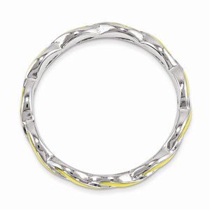 Alternate view of the 2mm Sterling Silver Stackable Expressions Yellow Enamel Swirl Band by The Black Bow Jewelry Co.
