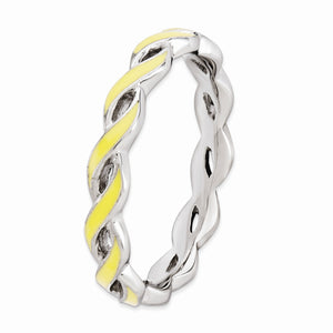 2mm Sterling Silver Stackable Expressions Yellow Enamel Swirl Band