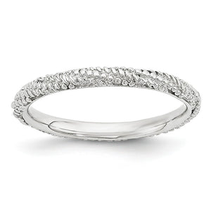 2.25mm Rhodium Plated Sterling Silver Stackable Textured Band - The Black Bow Jewelry Co.