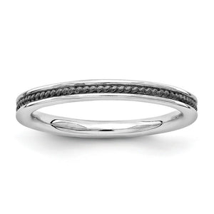 2.25mm Sterling Silver Stackable Black Ruthenium Plated Channeled Band - The Black Bow Jewelry Co.