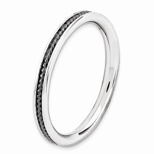 2.25mm Sterling Silver Stackable Black Ruthenium Plated Channeled Band