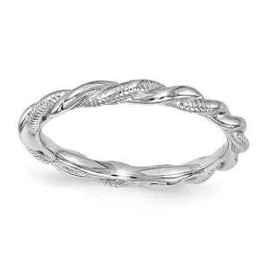 2.5mm Rhodium Plated Sterling Silver Stackable Twisted Band - The Black Bow Jewelry Co.