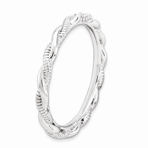 2.5mm Rhodium Plated Sterling Silver Stackable Twisted Band