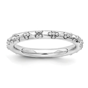 2.5mm Rhodium Plated Sterling Silver Stackable Textured Band - The Black Bow Jewelry Co.
