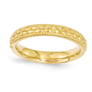 3.5mm 14k Yellow Gold Plated Sterling Silver Stackable Patterned Band - The Black Bow Jewelry Co.
