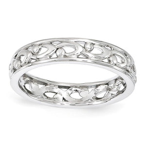 4.25mm Rhodium Plated Sterling Silver Stackable Carved Band - The Black Bow Jewelry Co.