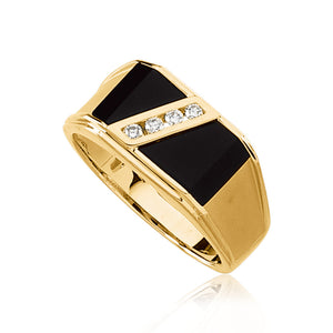 Onyx and 1/8 Carat Diamond Ring in 14K Yellow Gold - The Black Bow Jewelry Co.