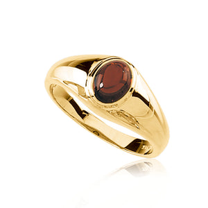 Mozambique Garnet Solitaire Ring in 14K Yellow Gold - The Black Bow Jewelry Co.