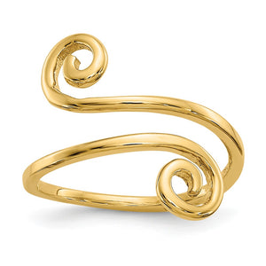 Swirl Toe Adjustable Ring in 14 Karat Gold - The Black Bow Jewelry Co.