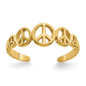 Peace Sign Toe Ring in 14 Karat Gold - The Black Bow Jewelry Co.