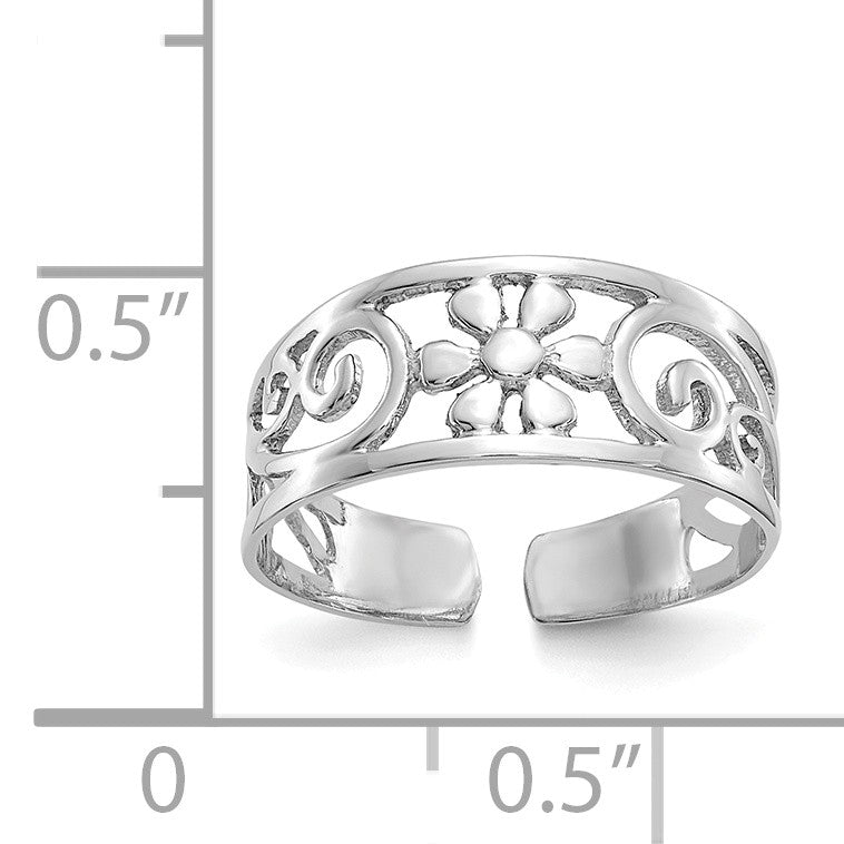 Alternate view of the Floral Toe Ring in 14 Karat White Gold by The Black Bow Jewelry Co.