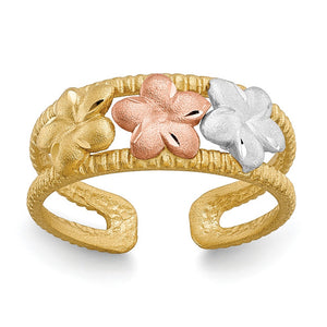 Tri-Color Plumeria Toe Ring in 14 Karat Gold - The Black Bow Jewelry Co.