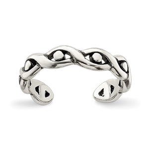 Sterling Silver Antiqued Twist and Dots Toe Ring - The Black Bow Jewelry Co.