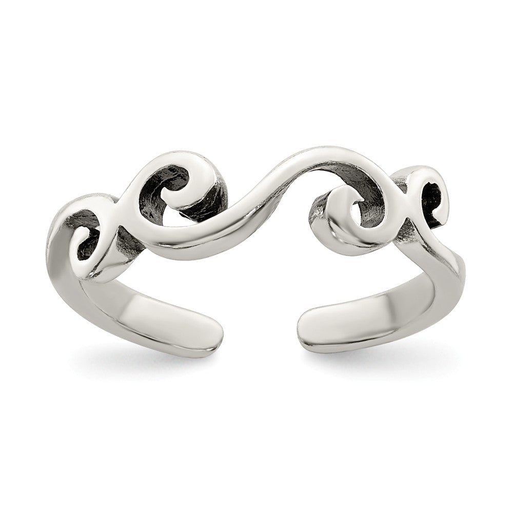 Swirl Toe Ring in Sterling Silver, Item R8507 by The Black Bow Jewelry Co.