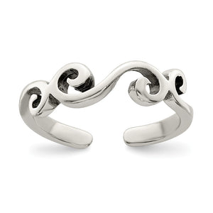 Swirl Toe Ring in Sterling Silver - The Black Bow Jewelry Co.