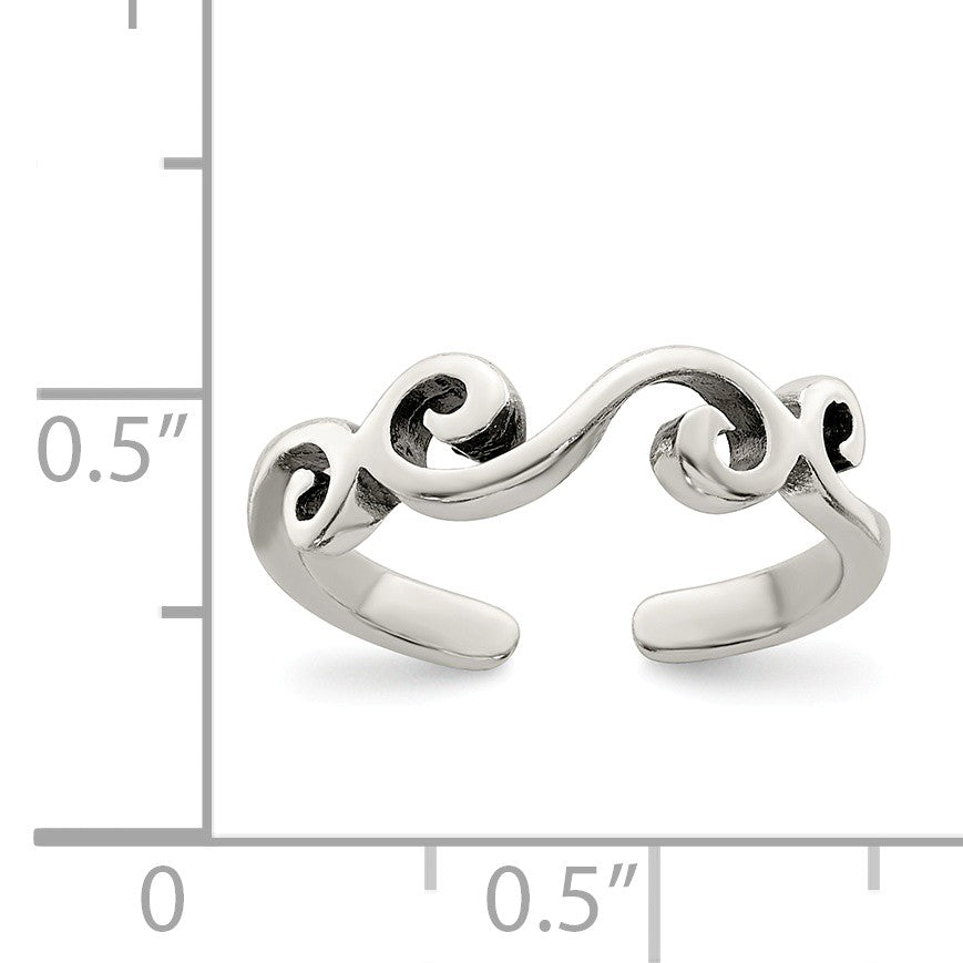 Alternate view of the Swirl Toe Ring in Sterling Silver by The Black Bow Jewelry Co.