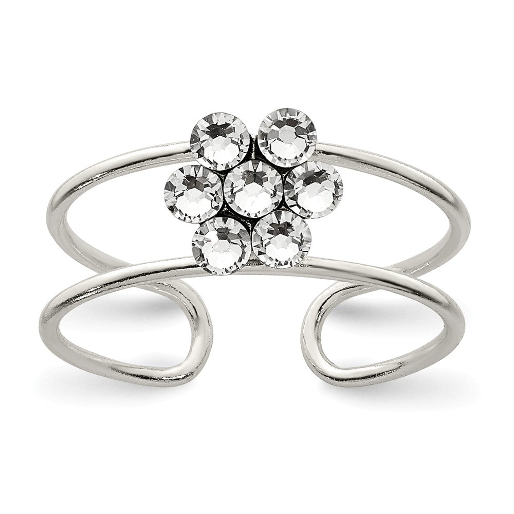Flower Toe Ring in Sterling Silver and Cubic Zirconia, Item R8517 by The Black Bow Jewelry Co.