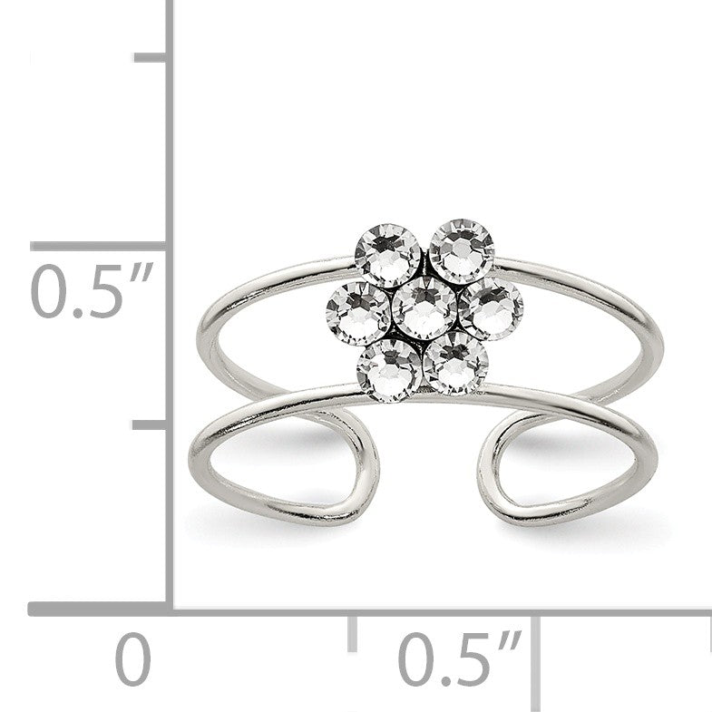 Alternate view of the Flower Toe Ring in Sterling Silver and Cubic Zirconia by The Black Bow Jewelry Co.