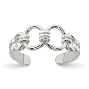 5mm Chain Link Toe Ring in Sterling Silver - The Black Bow Jewelry Co.