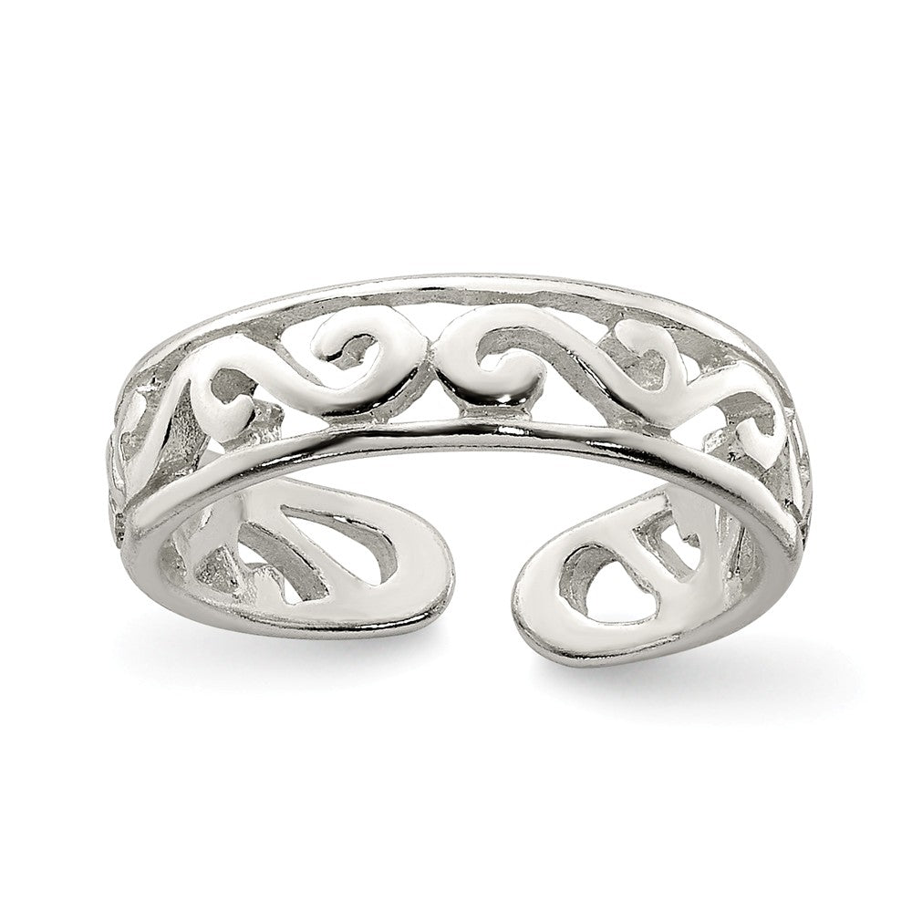 Scroll Toe Ring in Sterling Silver, Item R8534 by The Black Bow Jewelry Co.