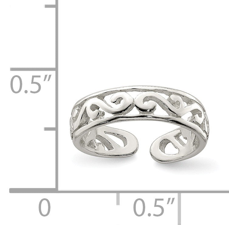 Alternate view of the Scroll Toe Ring in Sterling Silver by The Black Bow Jewelry Co.