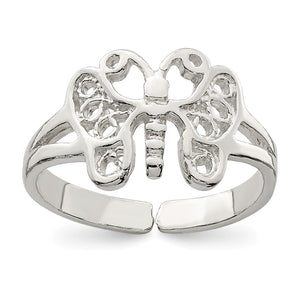 Sterling Silver Butterfly Toe Ring - The Black Bow Jewelry Co.